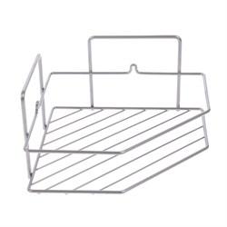 Полка для ванной угловая трапеция  1 ярус гальваника цинк цвет хром - фото 13409