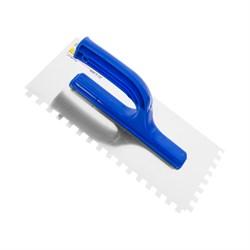 Гладилка зубчатая для штукатурки, 130 х 270 мм, нержав. сталь, пластиковая рукоятка, зуб 8 х 8 мм - фото 19410