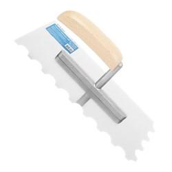 Гладилка  для штукатурки зубчатая, 130 х 260 мм, нержав. сталь, дерев. рукоятка, зуб 12 х 12 мм - фото 19411