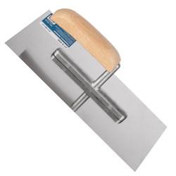 Гладилка для бетона прямая, 130 х 280 мм, нержав. сталь, деревянная рукоятка - фото 19429