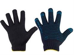 Перчатки Х\Б, черные, 5-ти нитка, с ПВХ (шт.) - фото 5861