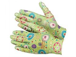 Перчатки из полиэстера, садовые с полимерным покрытием ладони и пальцев, размер М (шт.) - фото 5881