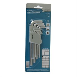 Набор ключей имбусовых удлиненных, 6 граней, 9 предметов (Hardax) (уп.) - фото 8079