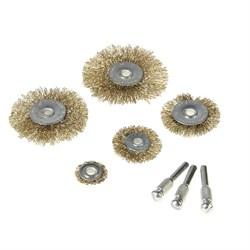 Набор щеток-крацовок со шпилькой для дрели , 5 предметов (Hobbi) (уп.) - фото 8624