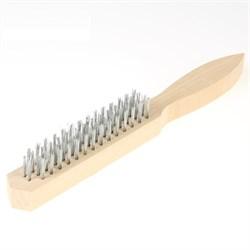 Щетка проволочная, стальная, деревянная рукоятка, 4 ряда (Hobbi) (шт.) - фото 9431