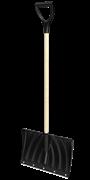 """Лопата снегоуборочная, пластм., с накладкой, дер. черенок, с ручкой, 440х315мм """"Крепыш"""""""