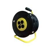 Силовой удлинитель на катушке, 4 роз., б/з, 2,2кВт (10А), ПВС 2x1,0 мм, 50 м (шт.)