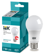 Лампа светодиодная A60 шар, 7Вт 230В 4000К, E27