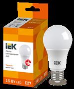 Лампа светодиодная A60 шар, 15Вт, 230В, 3000К, E27