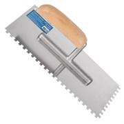 Гладилка зубчатая, 130 х 280 мм, нержав. сталь, деревянная рукоятка, зуб 6 х 6 мм (Remocolor) (шт.)