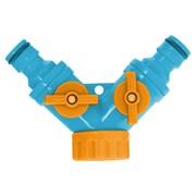 """Разветвитель 2- х канальный штуцерный, для шланга регулируемый, пластиковый, 3/4"""" , (шт.)"""