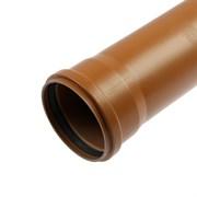 Труба канализационная, наружная, рыжая, 110х3,2мм, 1м