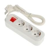 Удлинитель электрический, 3 розетки ПВС 3х1, 16А, с/з, с выкл., 2м
