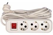 Удлинитель электрический, 3 розетки ПВС 3х1, 16А, с/з, с выкл., 10м