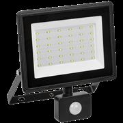Прожектор с датчиком движения светодиодный СДО 06-50Д, черный IP54 6500K