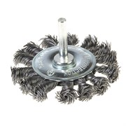 Щетка-крацовка со шпилькой для дрели, круглая, крученная проволока, диаметр 75 мм (Hobbi) (шт.)